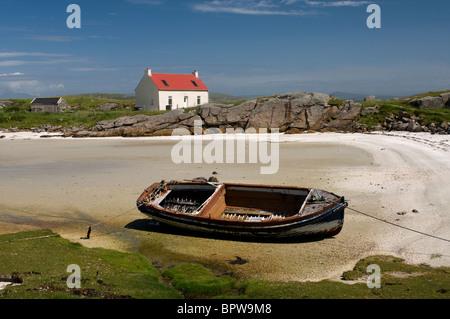 Crannag at Traig Mhor beach Isle of Barra, Outer Hebrides Western Isles. Scotland.  SCO 6539 - Stock Photo