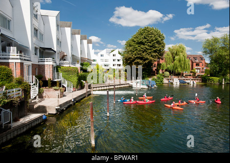 Summer activities and passing through Marlow Lock on the River Thames, Buckinghamshire, England, United Kingdom - Stock Photo