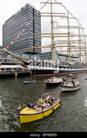 The Sedov, a four-masted boat taking part in the Sail 2010 boat parade in Amsterdam, the Netherlands - Stock Photo