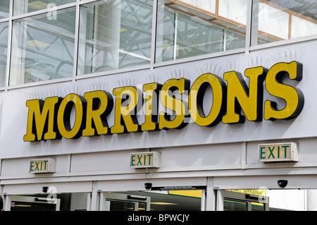 Morrisons Supermarket sign, Holloway Islington London England UK - Stock Photo
