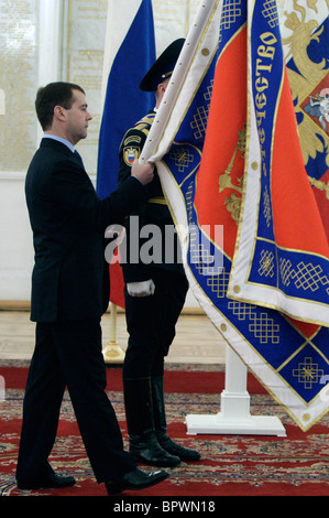 Russian president presents colors and standard to Foreign Intelligence Service - Stock Photo