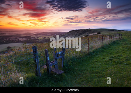 Views from Ditching Beacon along the South Downs Way at dawn - Stock Photo