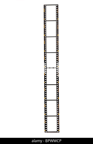 Blank 35mm film strip on a white background ready for your images to be inserted. Fuji, pre-digital from 1980s/1990s. - Stock Photo