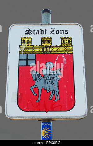 D-Dormagen, Rhine, Lower Rhine, North Rhine-Westphalia, D-Dormagen-Zons, Feste Zons, Middle Ages, place-name sign - Stock Photo