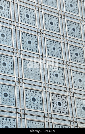 facade of Institut du Monde Arabe, Paris, France - Stock Photo