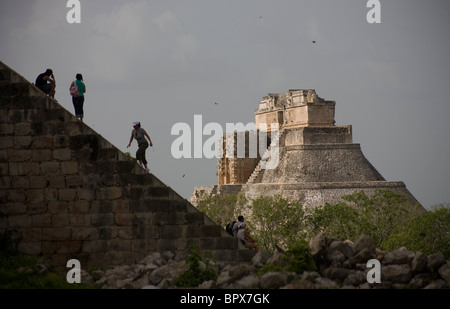 The Magician Pyramid, or the Piramide del Adivino, in Spanish, seen among the Mayan ruins of Uxmal in Yucatan peninsula, - Stock Photo