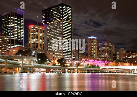City of Brisbane by the river at night - Stock Photo