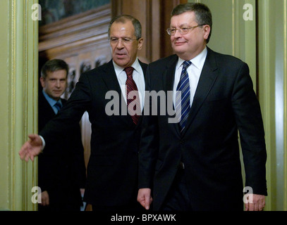 Russian and Ukrainian Foreign Ministers meet for talks - Stock Photo