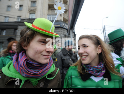 St. Patrick's Day parade in Moscow - Stock Photo