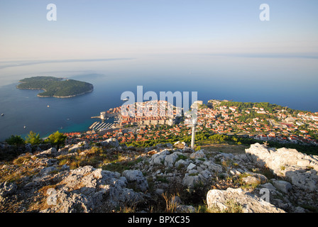 DUBROVNIK, CROATIA. A panoramic view of Dubrovnik old town, Lokrum island and the Adriatic from the summit of Mount - Stock Photo