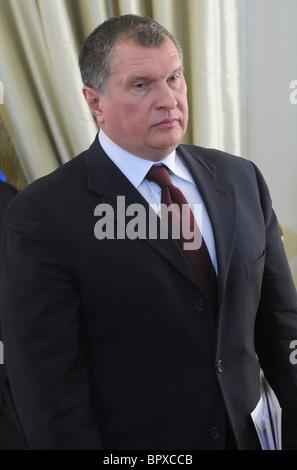 Russian, Qatar PMs meet for talks - Stock Photo