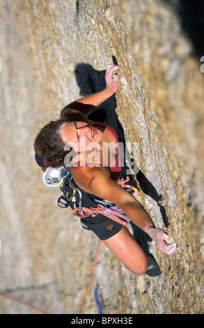 Rock climbing on a granite dome in Tuolumne Meadows, California. Tuolumne Meadows is a part of Yosemite National - Stock Photo