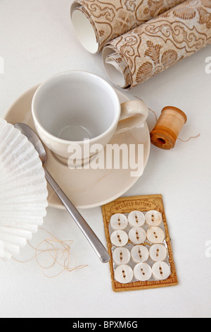 still life scene with coffee and creative items - Stock Photo