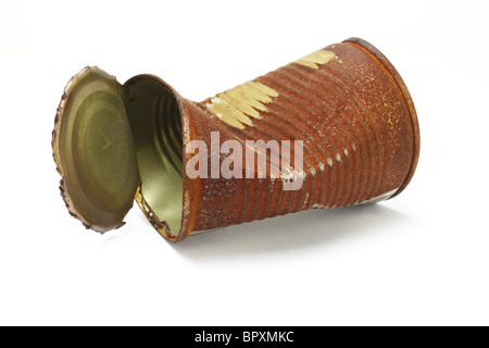 Old rusty crumbled tin can on white background - Stock Photo