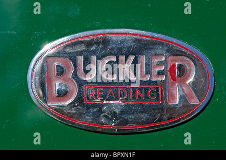Badge on Buckler MK5 Cabriolet, 1949, in the Tour de Bretagne Classic car rally 2010, Cotes-d'Armor (22) France - Stock Photo