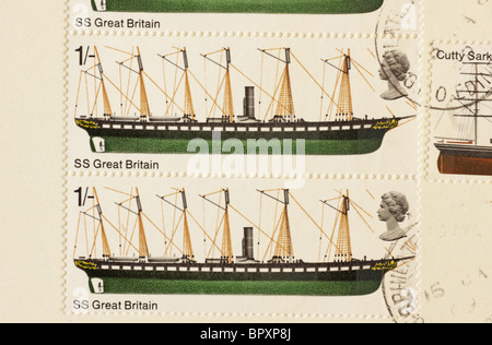 British Ships Commemoration Stamp SS Great Britain 1969 - Stock Photo