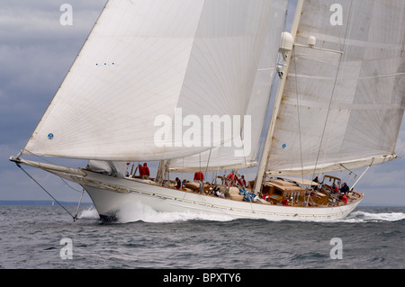 Classic yacht 'Adela' Sailing in the English Channel off Falmouth - Stock Photo