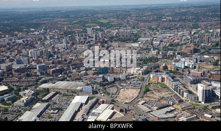 Leeds City Centre from the air, Summer 2010 - Stock Photo