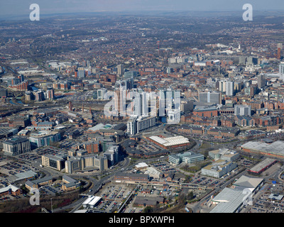 Holbeck Village, and  Leeds City Centre from the air, Summer 2010 - Stock Photo