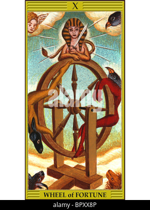 Wheel of fortune tarot card - Stock Photo