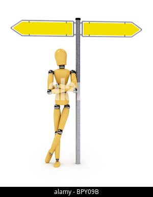 Wooden mannequin leaning against traffic sign - Stock Photo