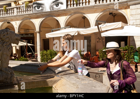 cooling off in Assisi italy - Stock Photo