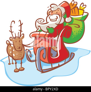 Santa Claus in a sleigh with a reindeer - Stock Photo