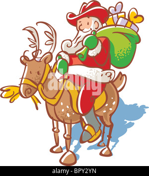 Santa Claus in a cowboy hat with a sack of toys riding a reindeer - Stock Photo
