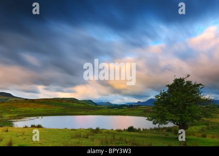 Tewit Tarn at sunrise near Keswick, Lake District, Cumbria, England. - Stock Photo