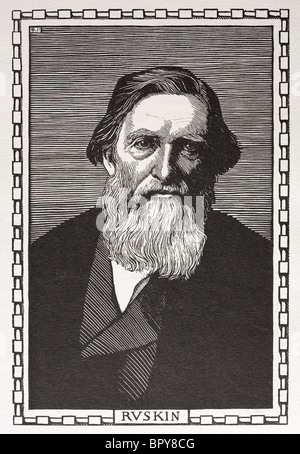 John Ruskin (1819 - 1900). Highly influential art critic, architect, poet, author and essayist. Author of 'The Stones - Stock Photo