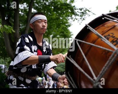 Taiko Drummer at Akita Kanto Matsuri Lantern Festival - Stock Photo