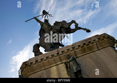 Statue of William the Conqueror in the town square in Falaise, France - Stock Photo