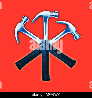 3 hammers graphically crossed on a orange red background - Stock Photo