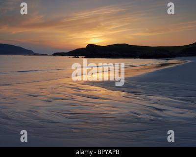Sunset at Balnakeil Bay on the far north west coast of Scotland UK - Stock Photo