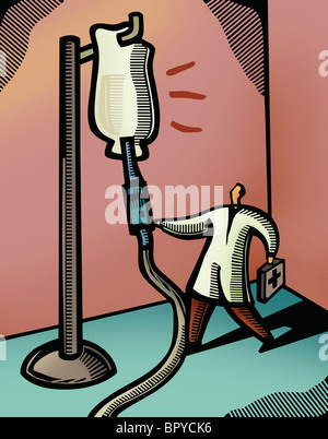 Doctor checking on a giant IV drip - Stock Photo