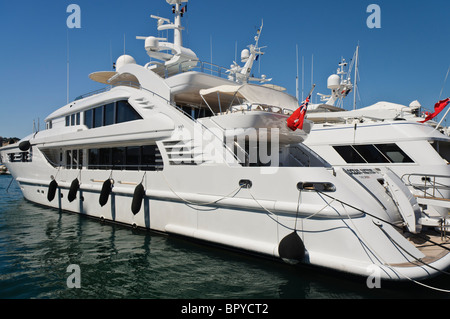 Superyacht 'Ocean Victory' moored in the Marina in Cannes - Stock Photo