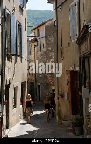 Narrow street in the town centre of Olargues a medieval village in the High Languedoc Regional National Park southern - Stock Photo