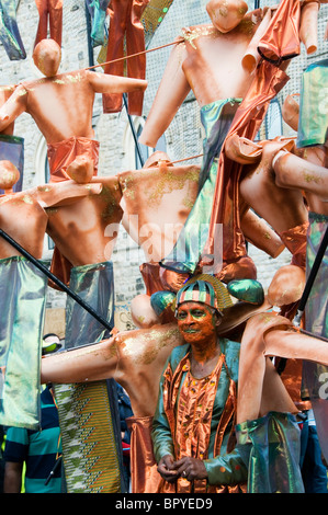 Close up of masquerade women at the Notting Hill Carnival, 2010, London, England, UK, Europe, EU - Stock Photo