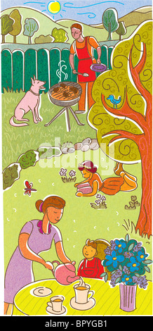 A family having tea and a BBQ in their backyard - Stock Photo