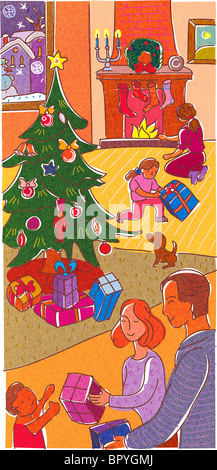A family opening presents on Christmas Day