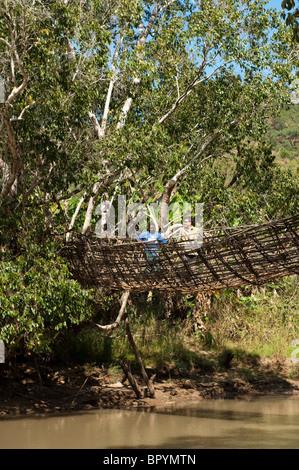 Traditional basket bridge, crossing the south Rukuru river, Kandewe village, Rumphi region, Malawi - Stock Photo