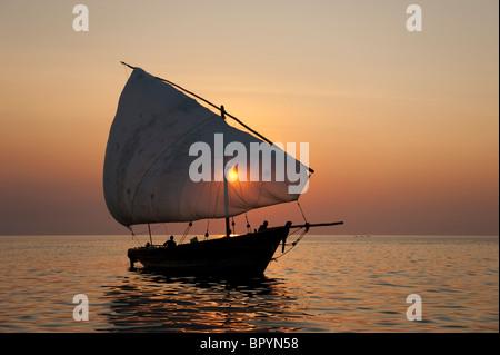 Dhow on lake Malawi, Cape Maclear, Malawi - Stock Photo