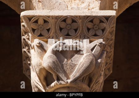 Segovia, Segovia Province, Spain. Iglesia de San Martin. Column capitals on Romanesque church of St. Martin. - Stock Photo