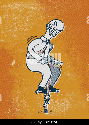 Drawing of a businessman on a pogo stick - Stock Photo