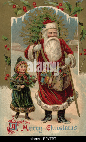 Vintage Christmas postcard of Santa Claus walking with a little girl as he carries a Christmas tree over his shoulder - Stock Photo