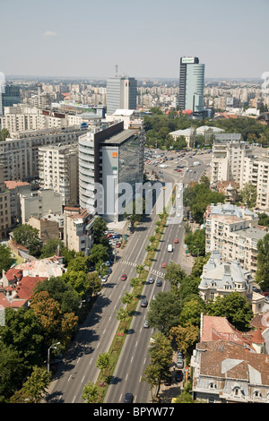 Aerial photograph of the city of Bucharest in Romania - Stock Photo