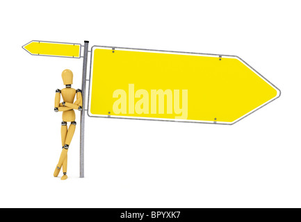 Wooden mannequin leaning against big sign over white - Stock Photo