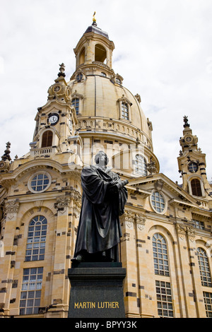 Photograph of the statue of Martin Luther in front of his church in the city of Dresden - Stock Photo