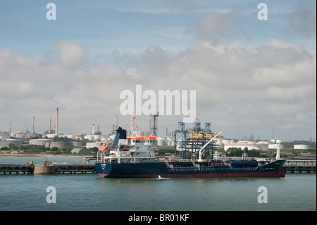 LS Anne oil tanker at Fawley oil refinery, Southampton, England. - Stock Photo