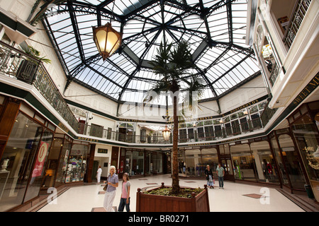 UK, England, Merseyside, Southport, Lord Street, Wayfarers Arcade Victorian cast iron roof canopy - Stock Photo